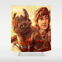 hiccup Shower Curtains featuring The Greatest Dragon Master by Five-Oclock