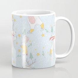 Christmas Polar Bears and Rabbits Ice Skating Coffee Mug