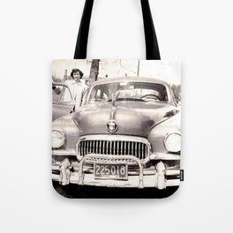Mom and her Antique Car  Tote Bag