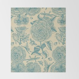 Garden Bliss - in teal & cream Throw Blanket