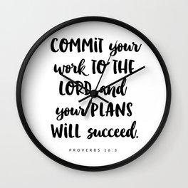 Proverbs 16:3 - Bible Verse Wall Clock