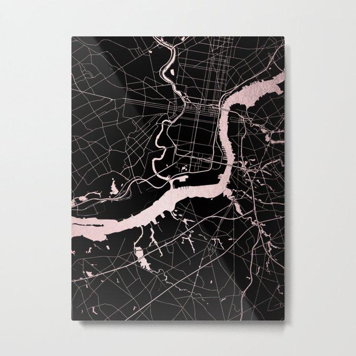 Philadelphia - Black and Rose Gold Metal Print