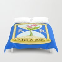 the cure Duvet Covers featuring Parkinson's Find a Cure by J&C Creations