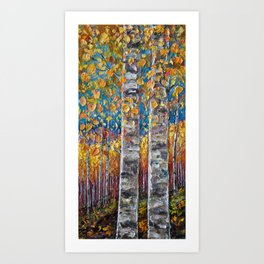 Colourful Autumn Aspen Trees Art Print