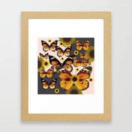 MODERN ART COFFEE & CREAM COLORED BROWN BUTTERFLIES Framed Art Print
