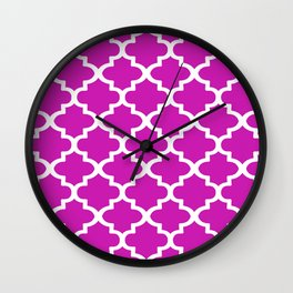 Arabesque Architecture Pattern In Pink Wall Clock