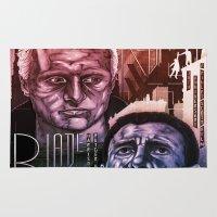blade runner Area & Throw Rugs featuring Blade Runner 30th anniversary by David Amblard