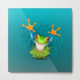 Little tree frog says hello over emerald Metal Print