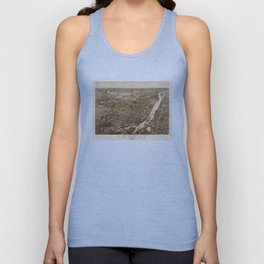 Vintage Pictorial Map of Troy NY (1881) Unisex Tank Top