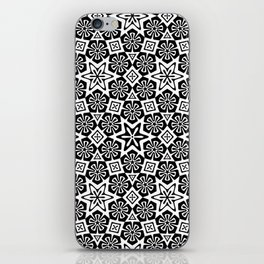 Polygon Flowers - Color: Black&White iPhone Skin