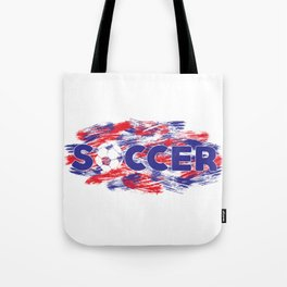 Soccer Red, White and Blue Tote Bag