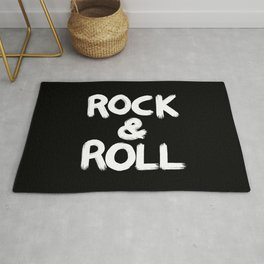 Rock and Roll Brushstroke Black and White Rug