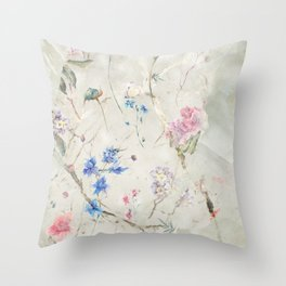 Sage Green Gold Marble Floral Flowers Throw Pillow