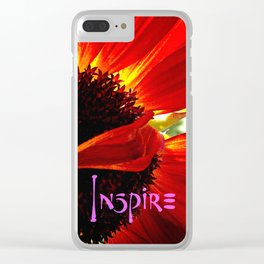 """Inspire"" quote stylish, red orange daisy close-up photo Clear iPhone Case"