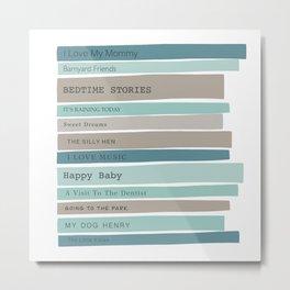 Stack of baby books - teal gray Metal Print