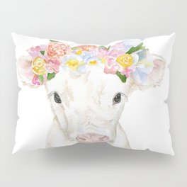 White Calf with Floral Crown Pillow Sham