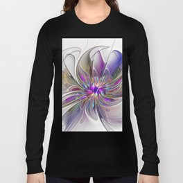 Energetic, Abstract And Colorful Fractal Art Flower Long Sleeve T-shirt