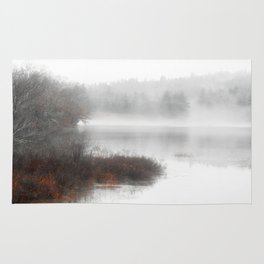 Foggy lake on a winter day - Nature Photography Rug