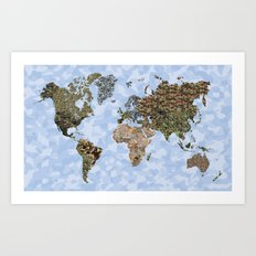 CAMO WORLD ATLAS MAP (BLUE) Art Print