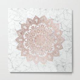 Boho Mandala - Rosegold on Marble Metal Print