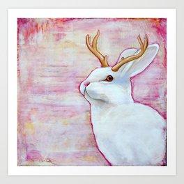 White Jackalope Art Print