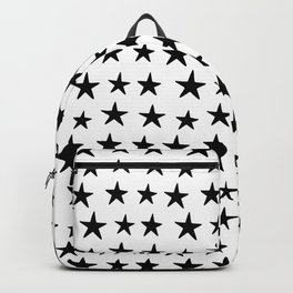 Star Pattern Black On White Backpack