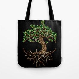 Rope Tree of Life. Rope Dojo 2017 black background Tote Bag