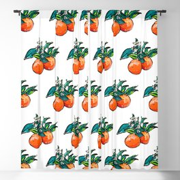 Oranges and Orange Blossom California Citrus Pattern Painting on White Blackout Curtain