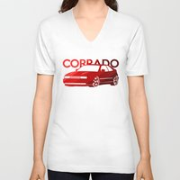 volkswagen V-neck T-shirts featuring Volkswagen Corrado - classic red - by Vehicle