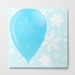 Blue Christmas Balloon Metal Print