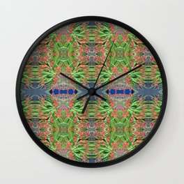 Red Lilly Flower Photo Multi Fractal Frieze Wall Clock