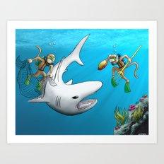 Monkeys Fighting Shark Art Print