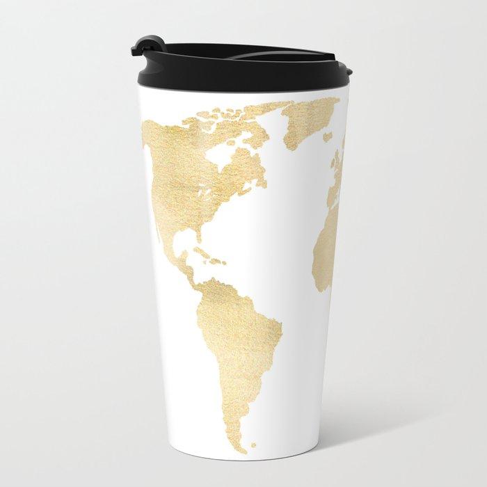 Gold world map travel mug by tangerinetane society6 gold world map travel mug sciox Image collections