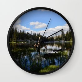 mosquito lake in vertical stripes Wall Clock