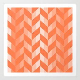 Living Coral Chevron Pattern Art Print