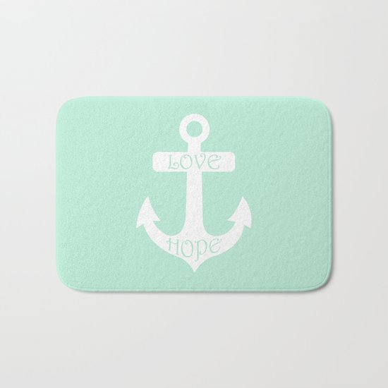Love Hope Anchor Mint Green Bath Mat