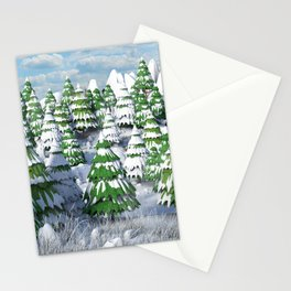 Cartoon Snow Landscape Stationery Cards