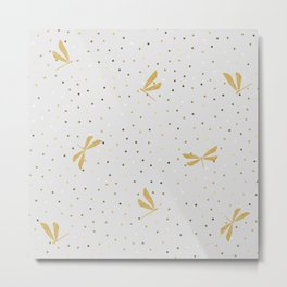 Gold Dragonfly Christmas seamless pattern and Gold Confetti on Pastel Grey Background Metal Print