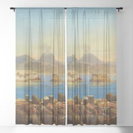 The Bay of Naples, Italy by Gustav Zick Sheer Curtain