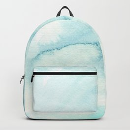 Abstract hand painted blue teal watercolor paint pattern Backpack