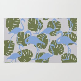 Flamingos and Monstera Pattern ZZZ Rug