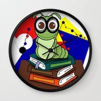 bookworm Wall Clocks featuring Bookworm 2 by Charles Oliver