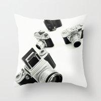 cameras Throw Pillows featuring cameras by Falko Follert Art-FF77