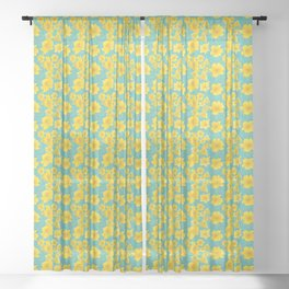 Stella D'oro Tropical Lily Flowers Sheer Curtain
