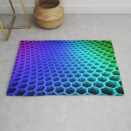 3D Colorful Honey Comb Hexagon Pattern Ultra HD Rug