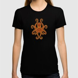 Intricate Red and Yellow Octopus T-shirt