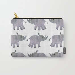 African Black Rhino multi-color purplegray Carry-All Pouch