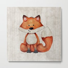 Little Fox, Baby Fox, Baby Animals, Forest Critters, Woodland Animals, Nursery Art Metal Print