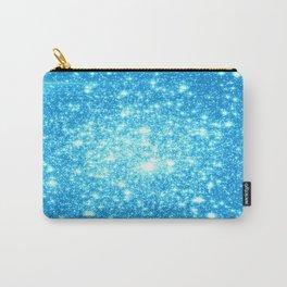 Sky Blue Sparkle Stars Carry-All Pouch