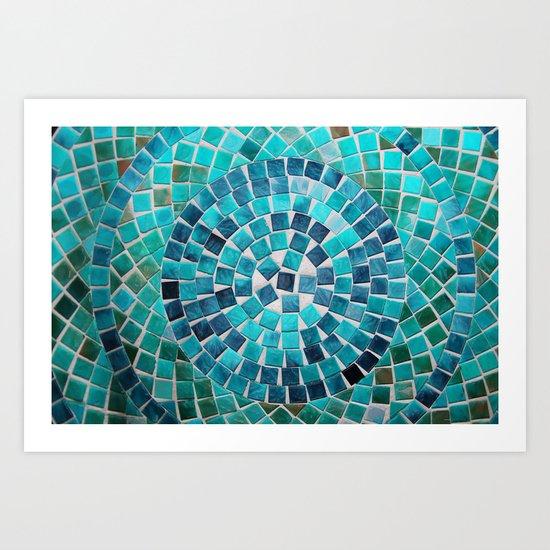 circular - photograph of mosaic tiles Art Print